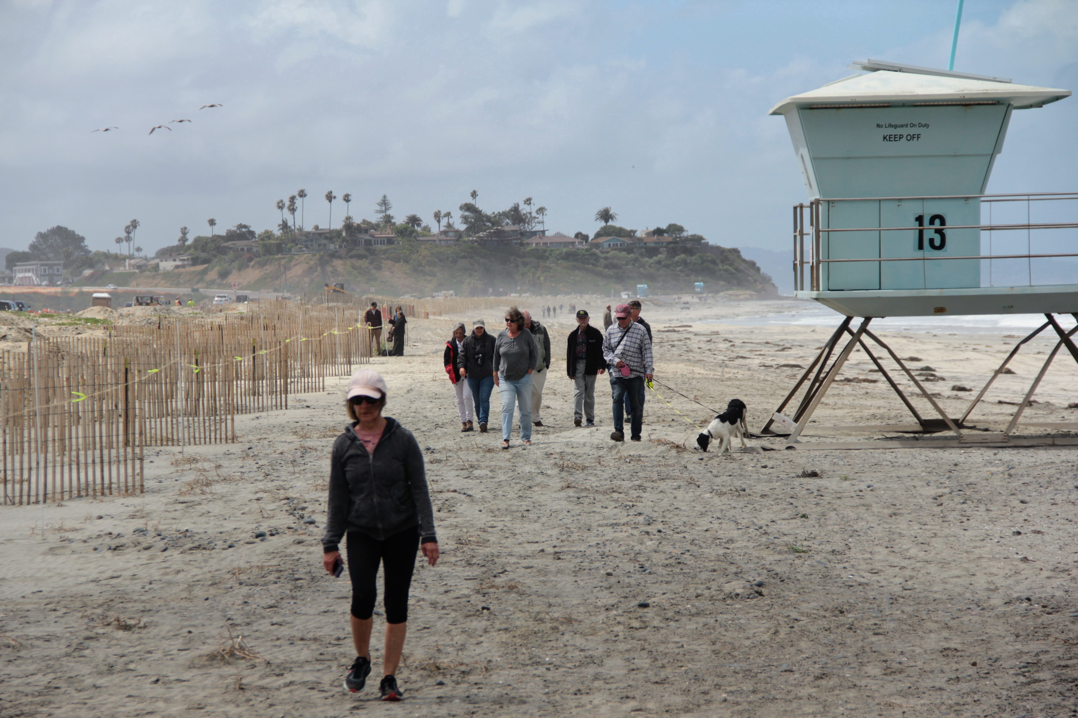 People walking along a beach beside a life guard stand. A dog is stopping to sniff.