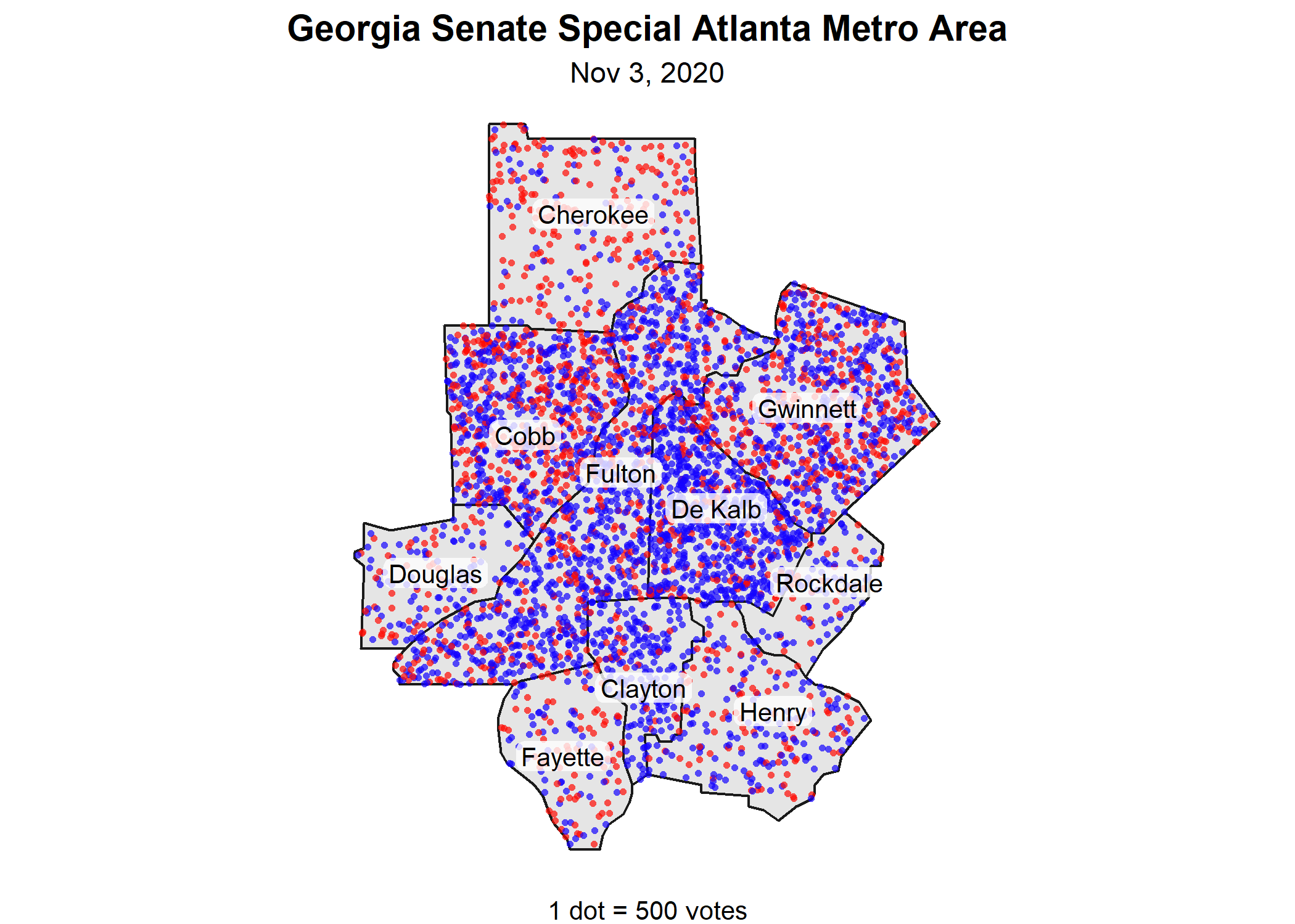 Georgia Senate Special Election 3 Nov 2020 — Republican and Democratic Votes in the Atlanta metro area. 1 dot = 500 votes