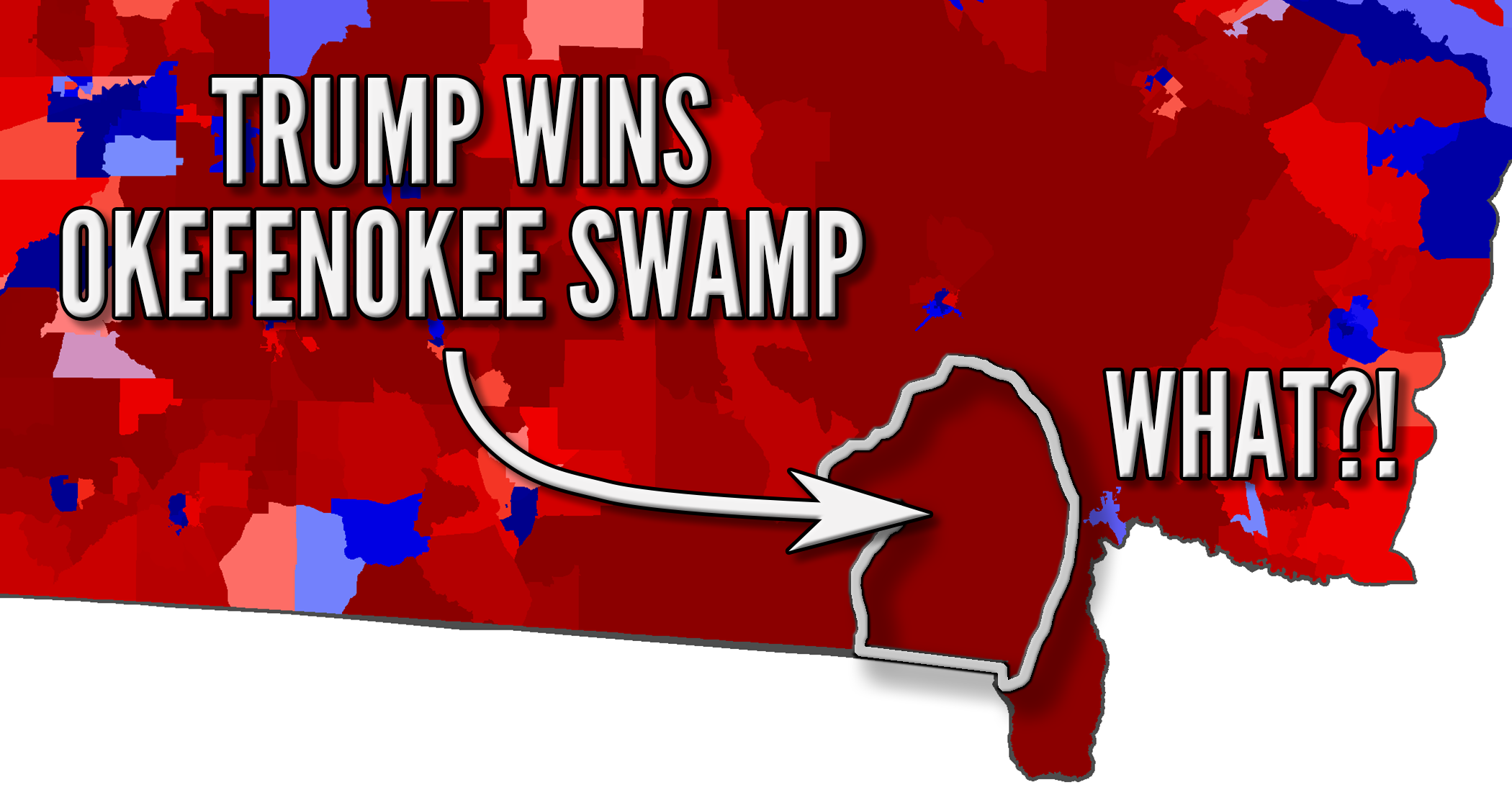 The problem with color-coded (choropleth) election maps is that Trump won the Okefenokee Swamp, population alligators.