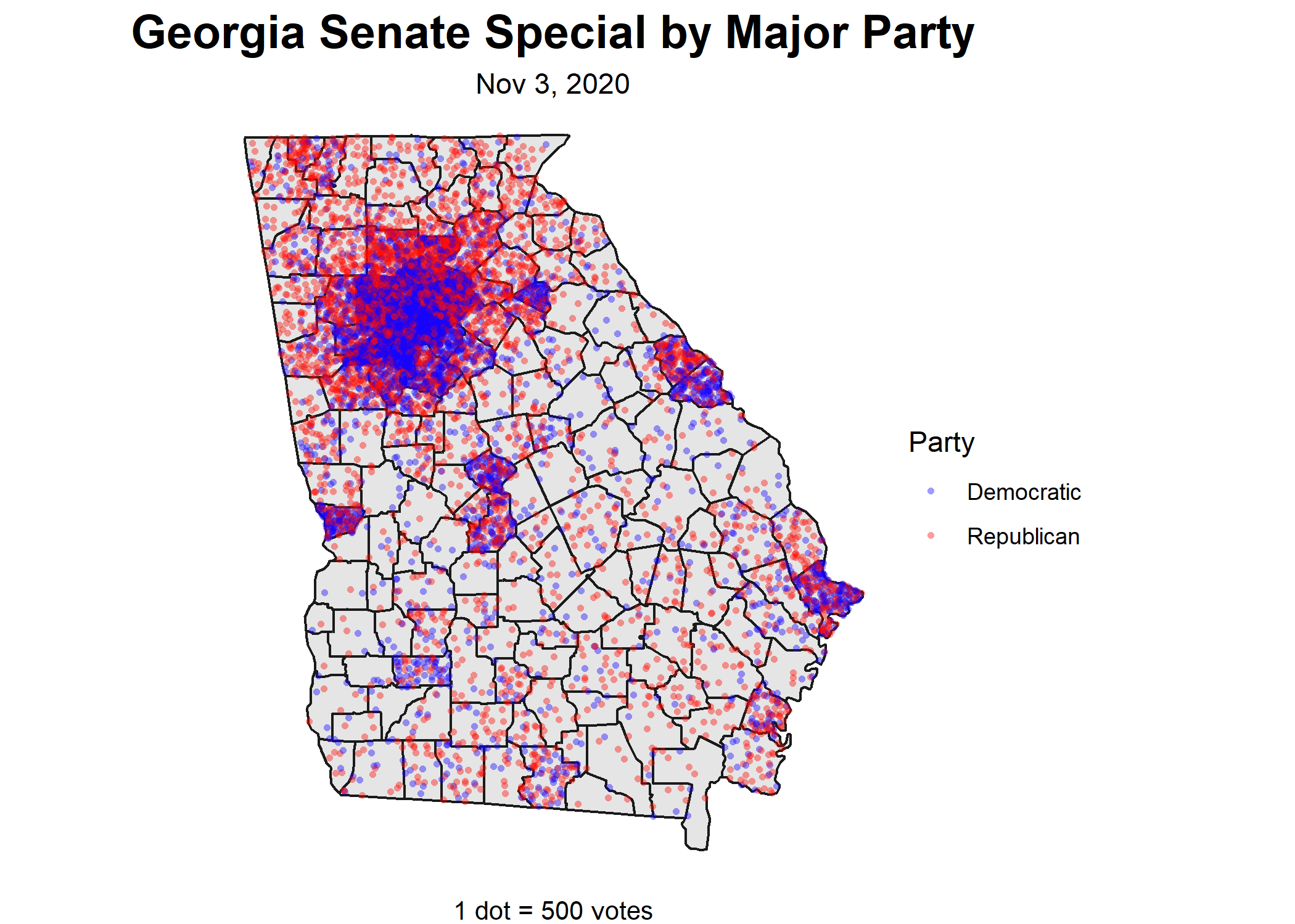 Georgia Senate Special Votes by Major Party. 1 dot = 500 votes
