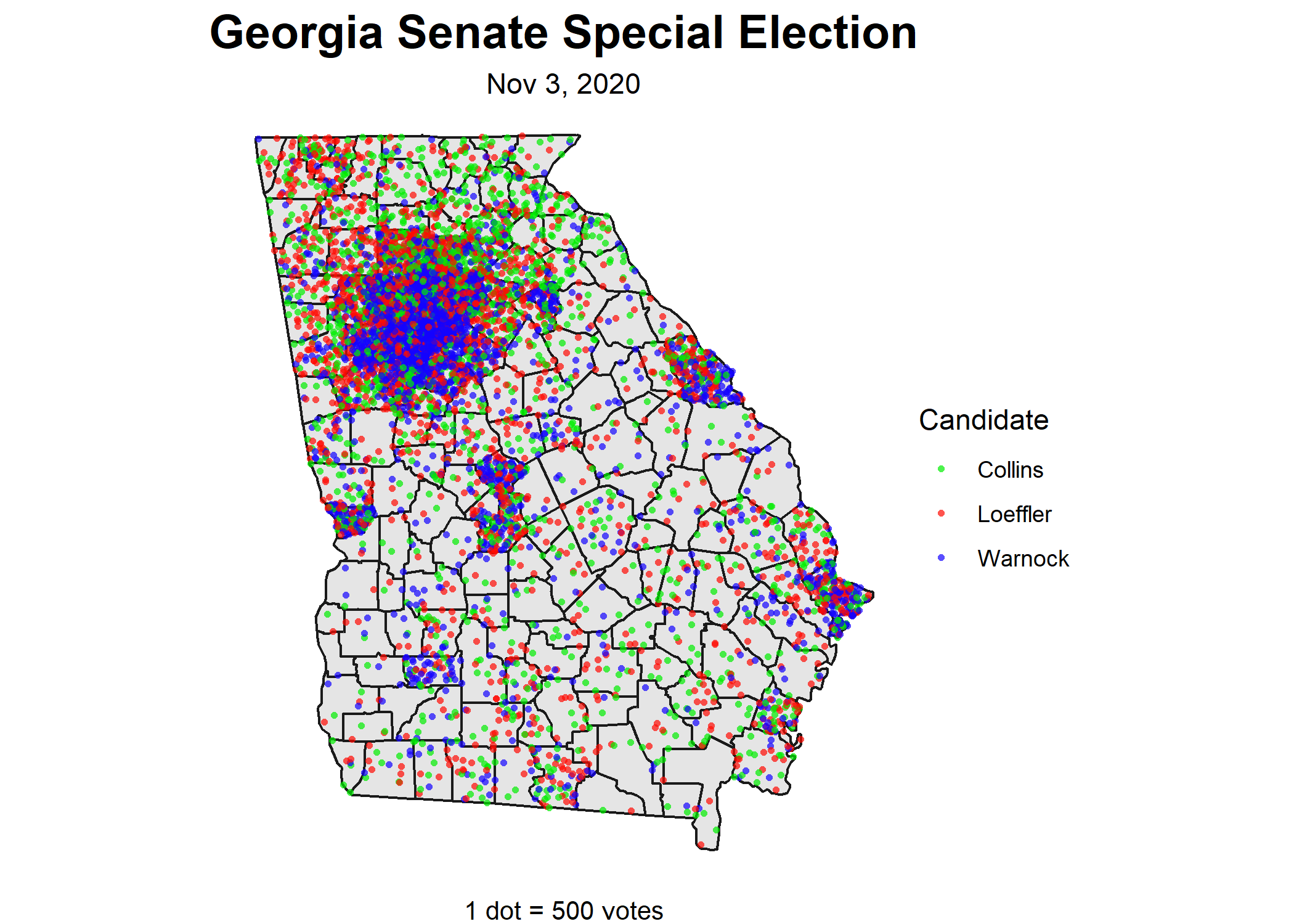 Warnock, Loeffler, and Collins Votes in the Georgia Senate Special Election. 1 dot equals 500 votes.