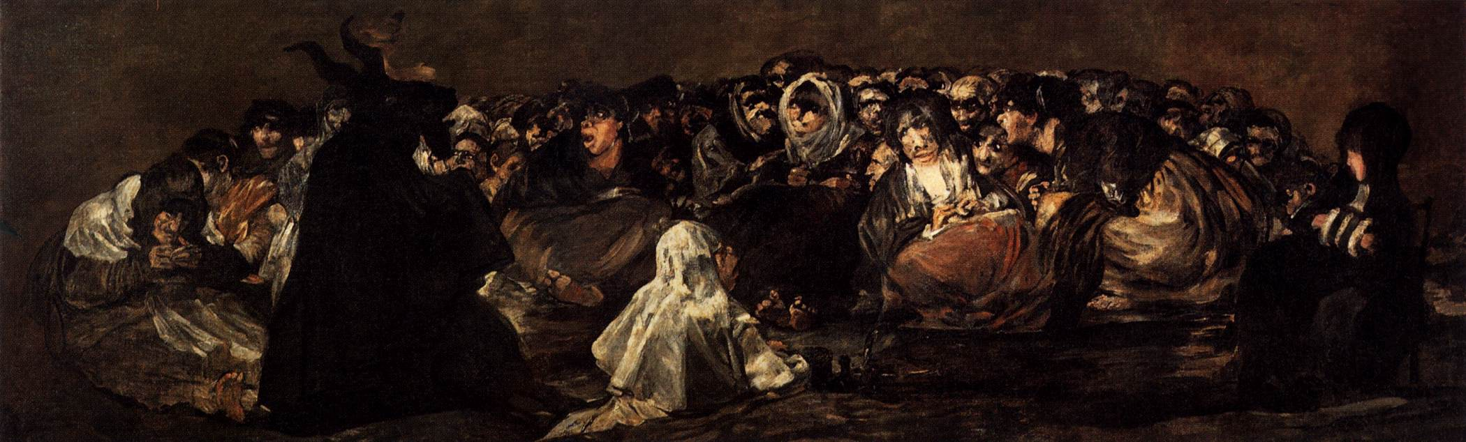 A painting of a frightened crowd looking at a dark, horned figure (Francisco Goya, Black Paintings)
