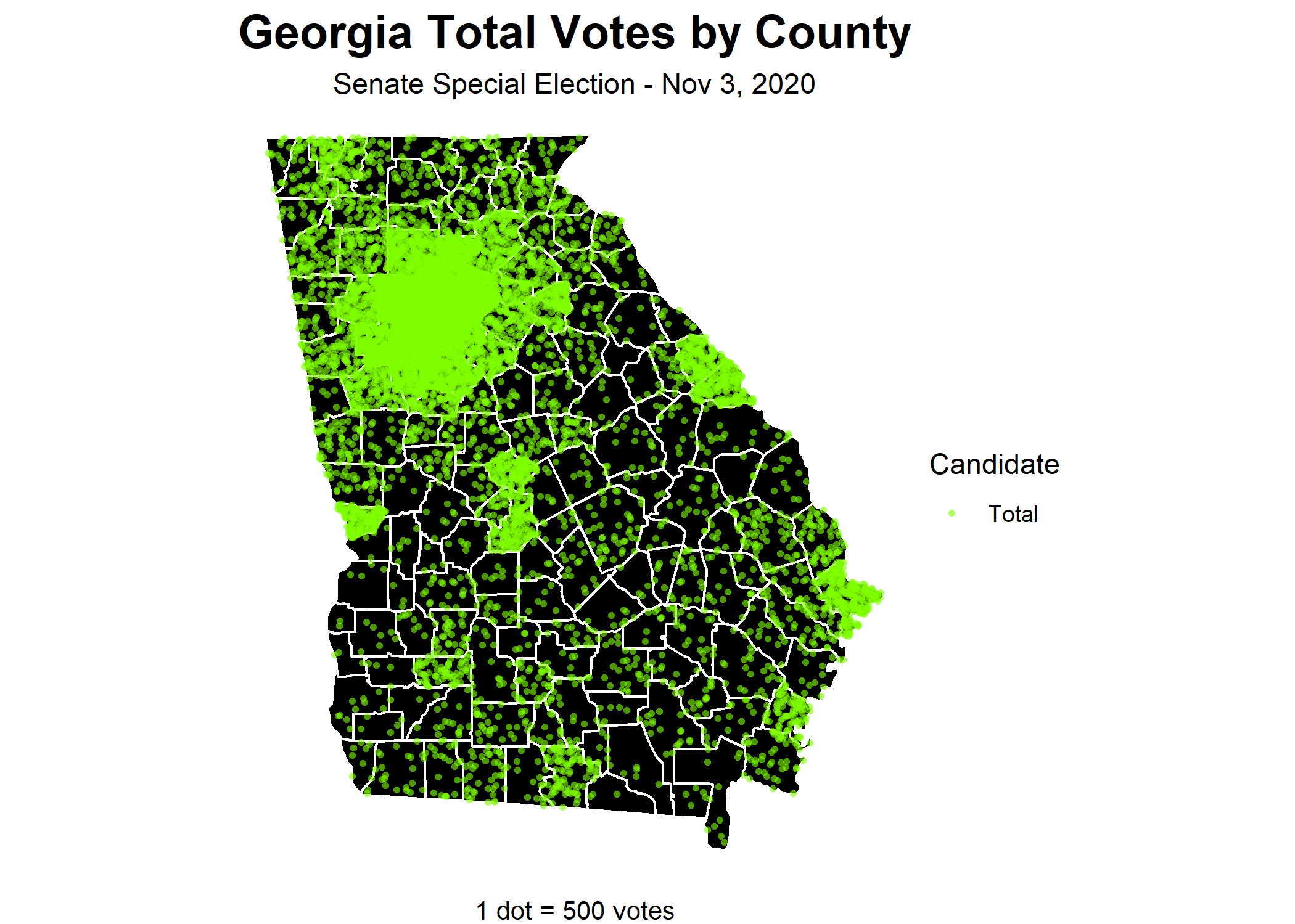Georgia's total votes by county in the 3 Nov 2020 Senate Special Election—1 dot equals 500 votes