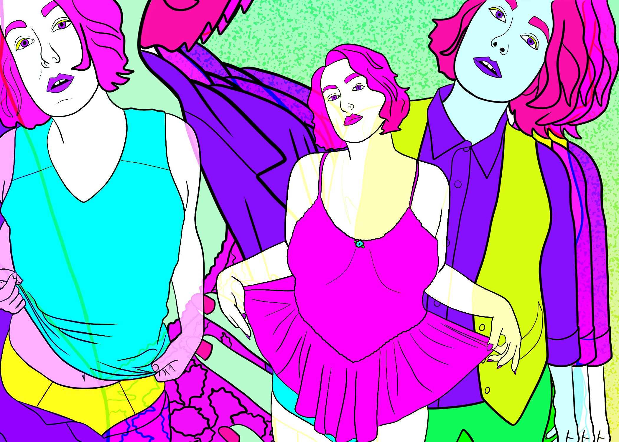 Digital collage in bright pink, purple, yellow, and blue of gendered versions of Jess: a binder, a dress, a blazer, a vest.