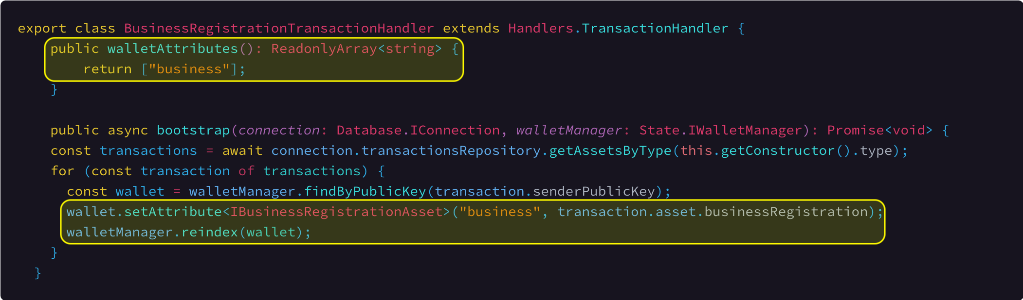 Registering a new wallet key 'business' and setting value in the bootstrap method.      Link To Source Code