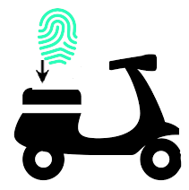Motor scooter with fingerprint icon