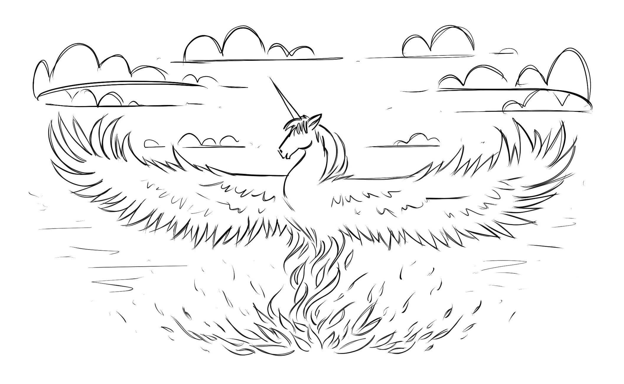 An illustration of a unicorn emerging from fiery ashes in the shape of a phoenix.