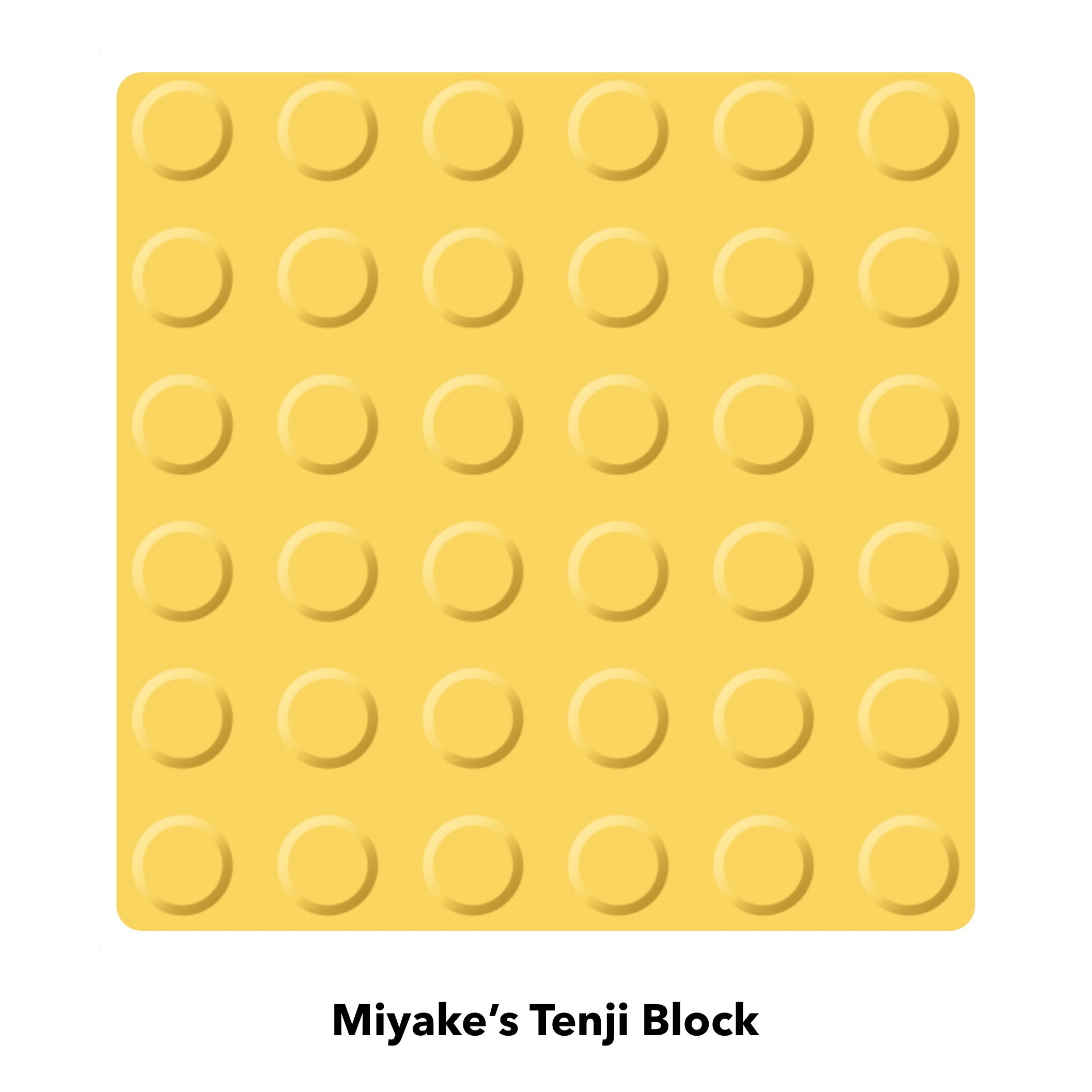 The original model for the Tenji Block. It is a yellow square with raised domes.