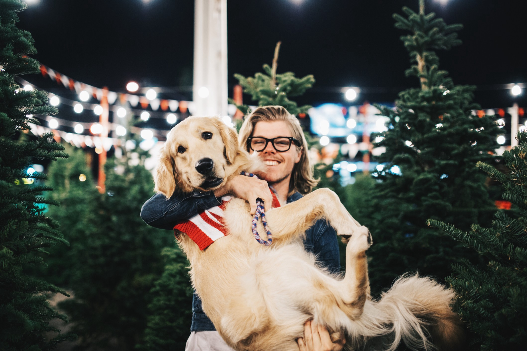 A man holds a golden retriever and smiles in a Christmas tree-filled lot.