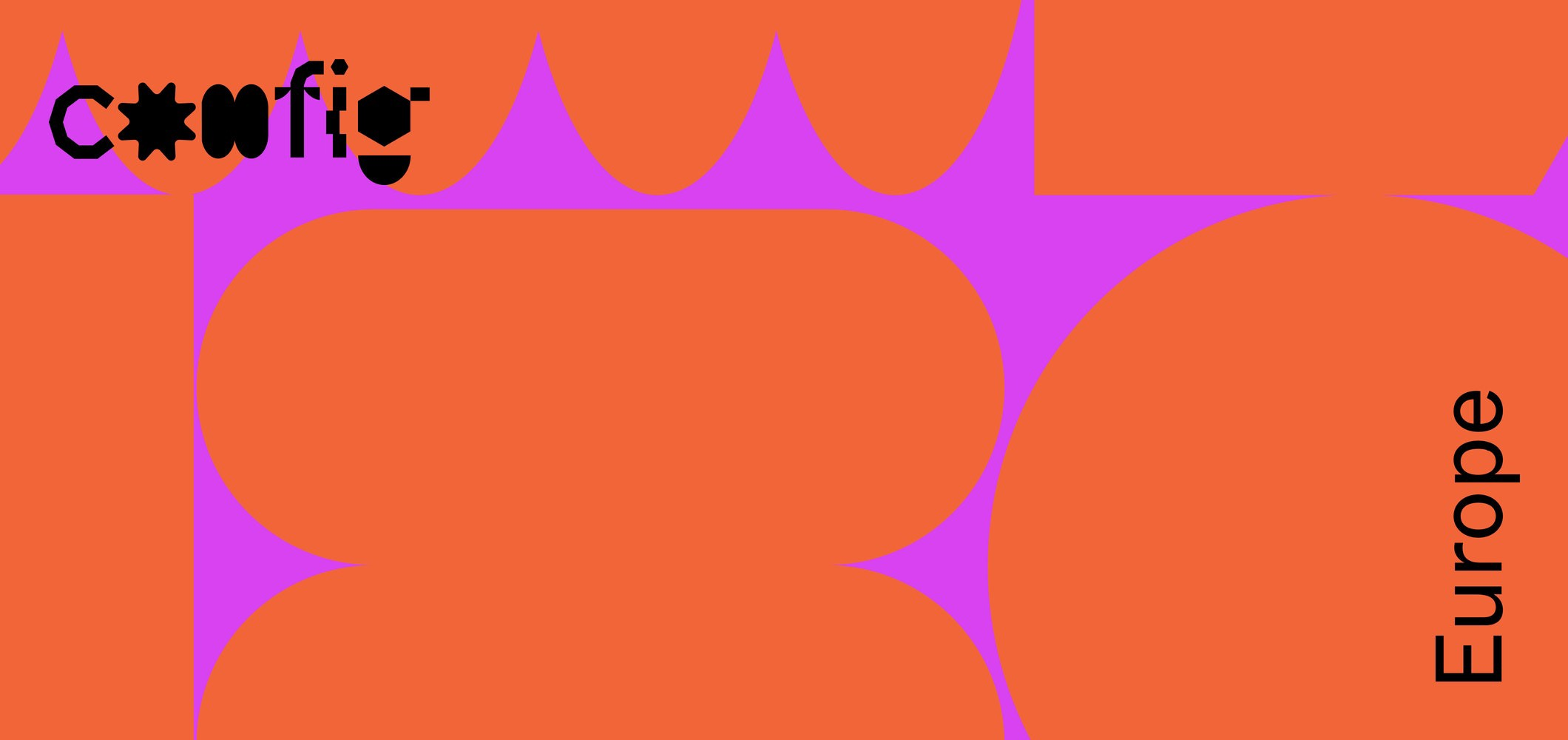 Config Europe artwork. Bold shapes in bright pink and orange.