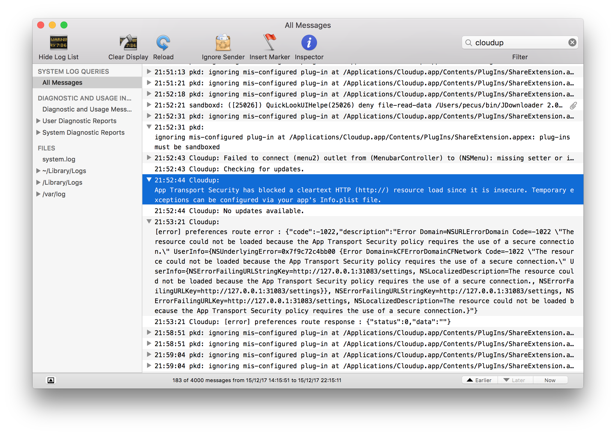 App Transport Security Exceptions on Mac OS X 10 11: how to