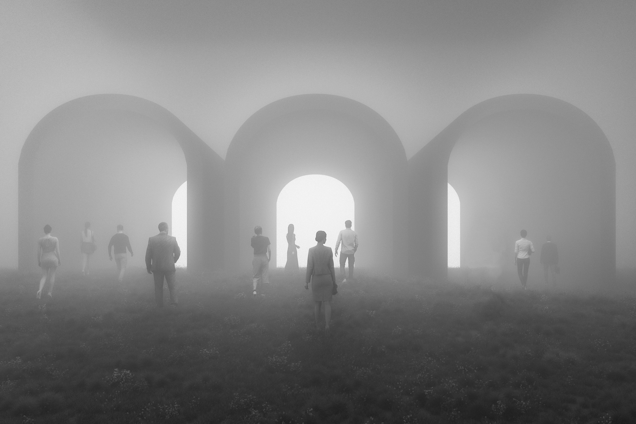 Business people walking towards mysterious tunnels. This is entirely 3D generated image.