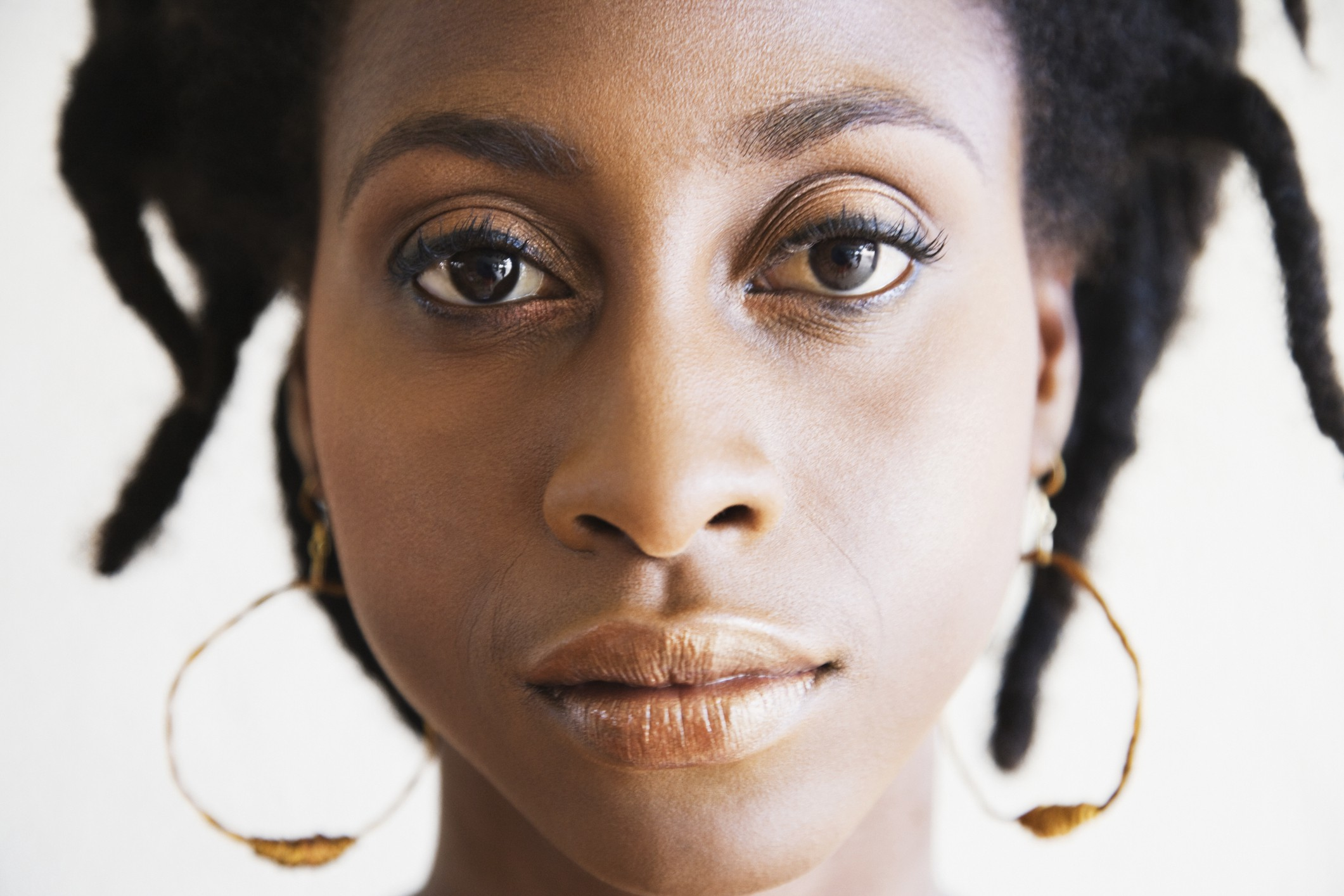 Closeup photo of a Black woman's face.