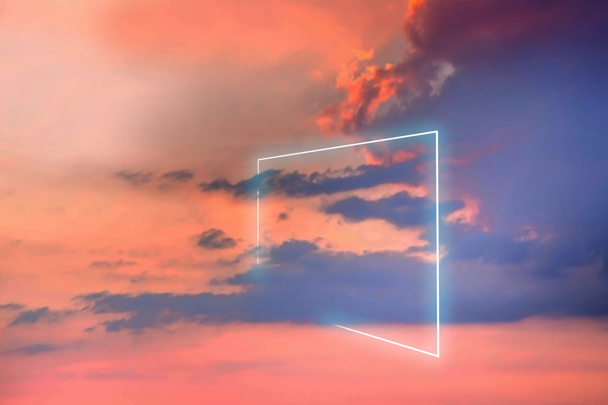A photo of poetic neon square light against a sunset sky.