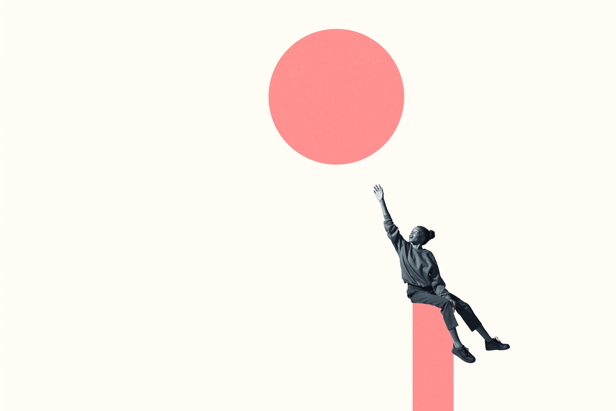 Young Black girl reaching for the sky, aka a salmon-colored circle in the sky.
