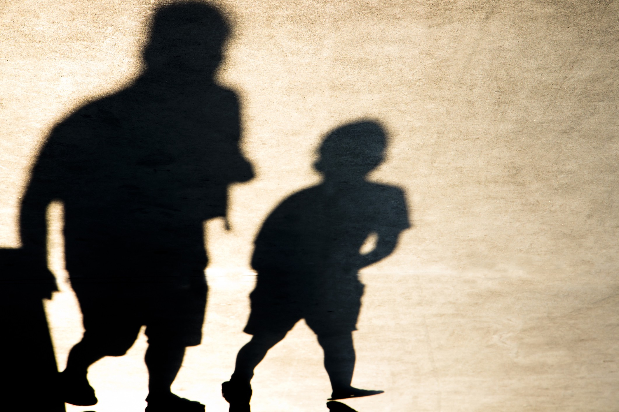 Shadows of an older person and younger person walking together.