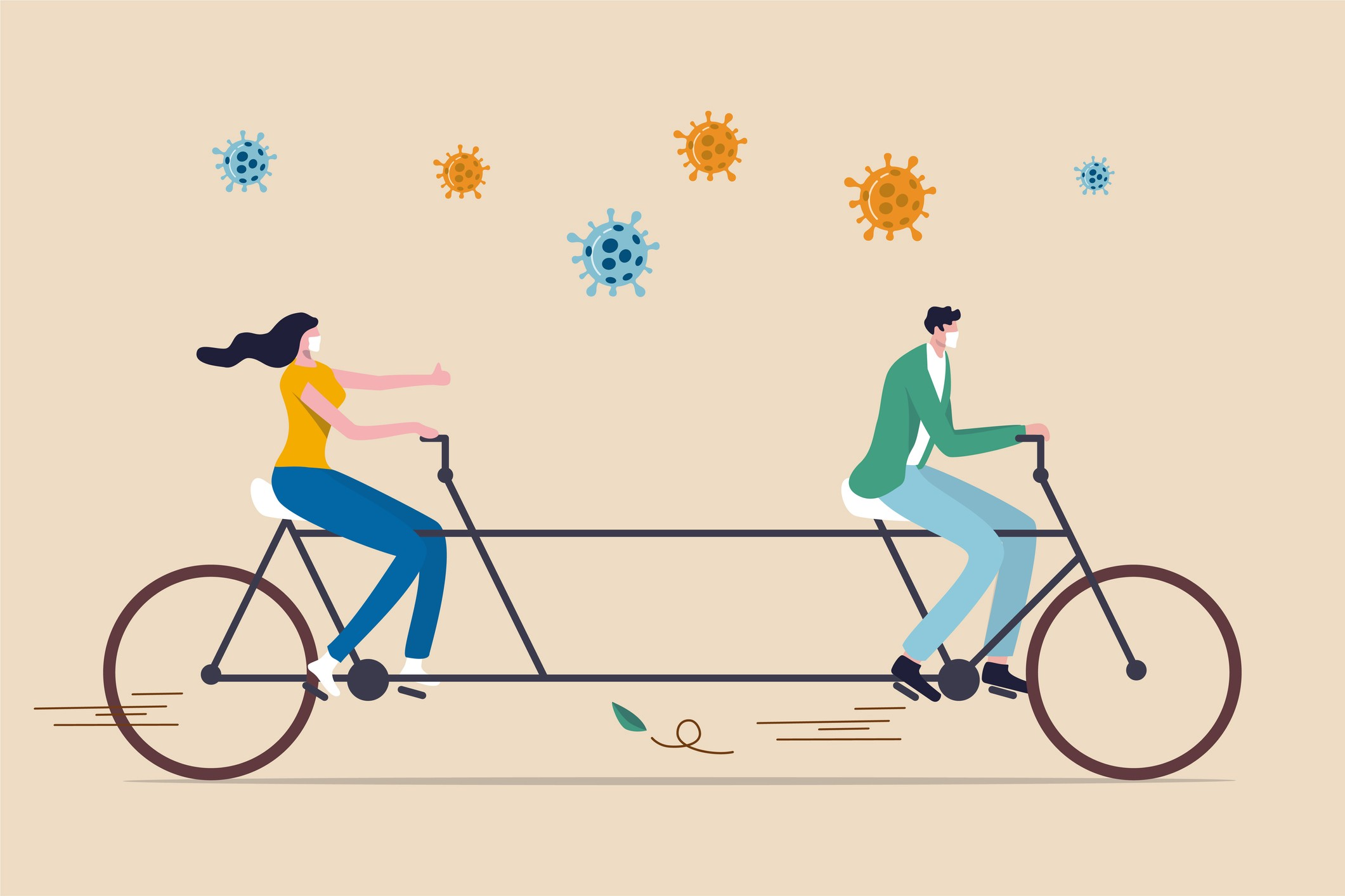 Two people wearing face masks, riding a very long tandem bicycle. Coronavirus molecules float above them. Illustration.