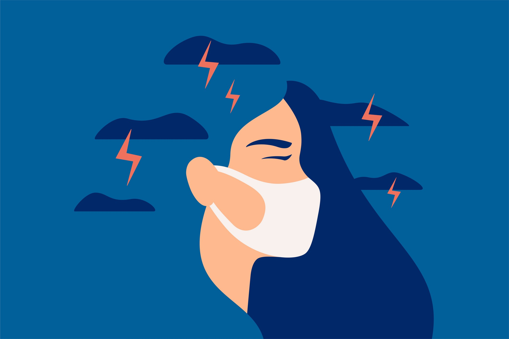 Illustration of a woman in a protective mask, with clouds and lightning flashing behind her to illustrate anxiety and gloomy thoughts.