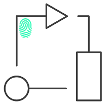 Business process flow chart with fingerprint icon