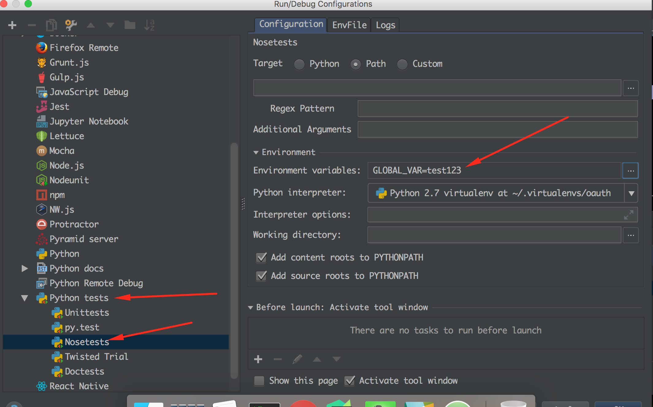 Pycharm set env variables in the project level in 2 mins