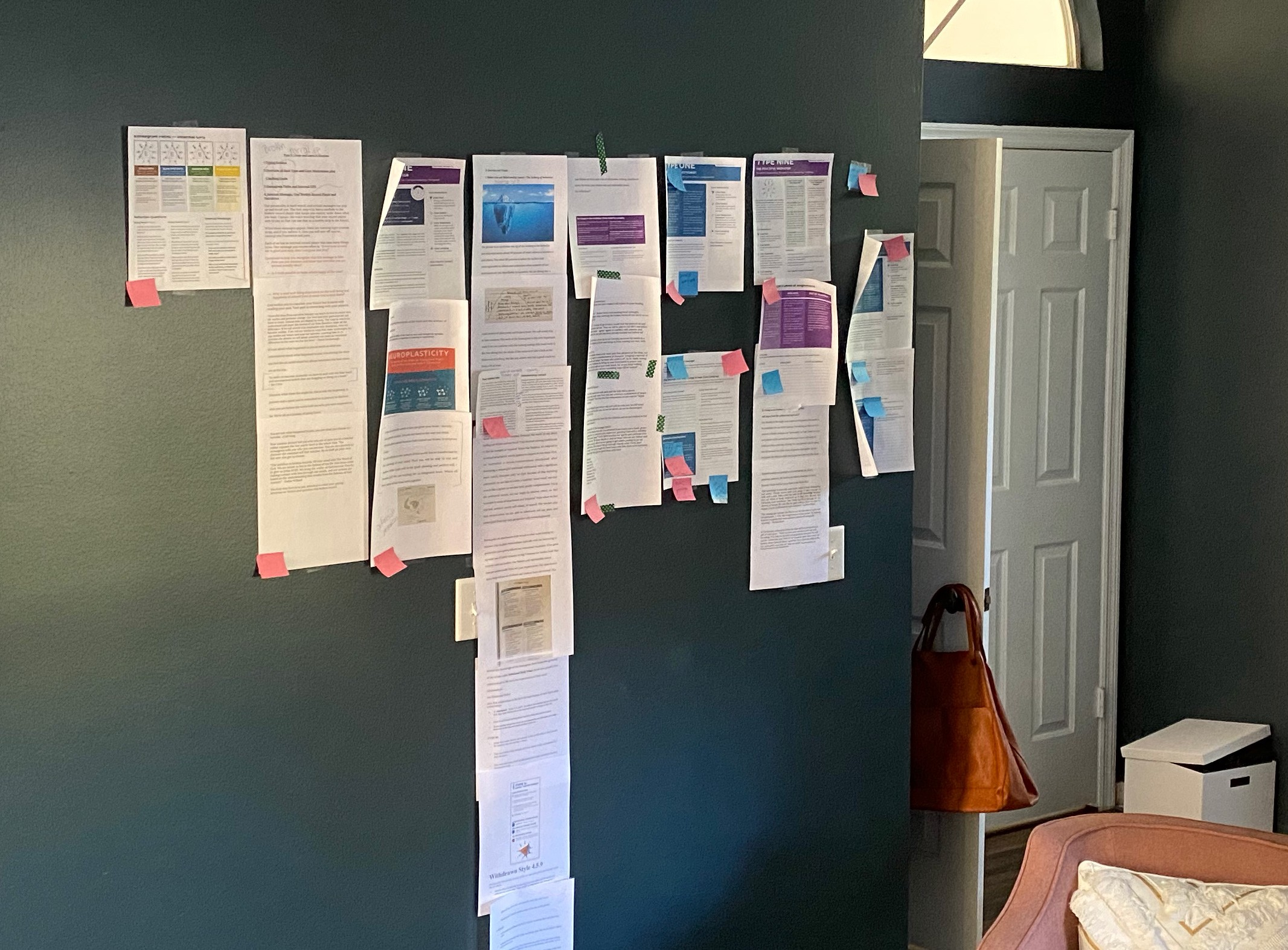 Printed out pages taped to wall