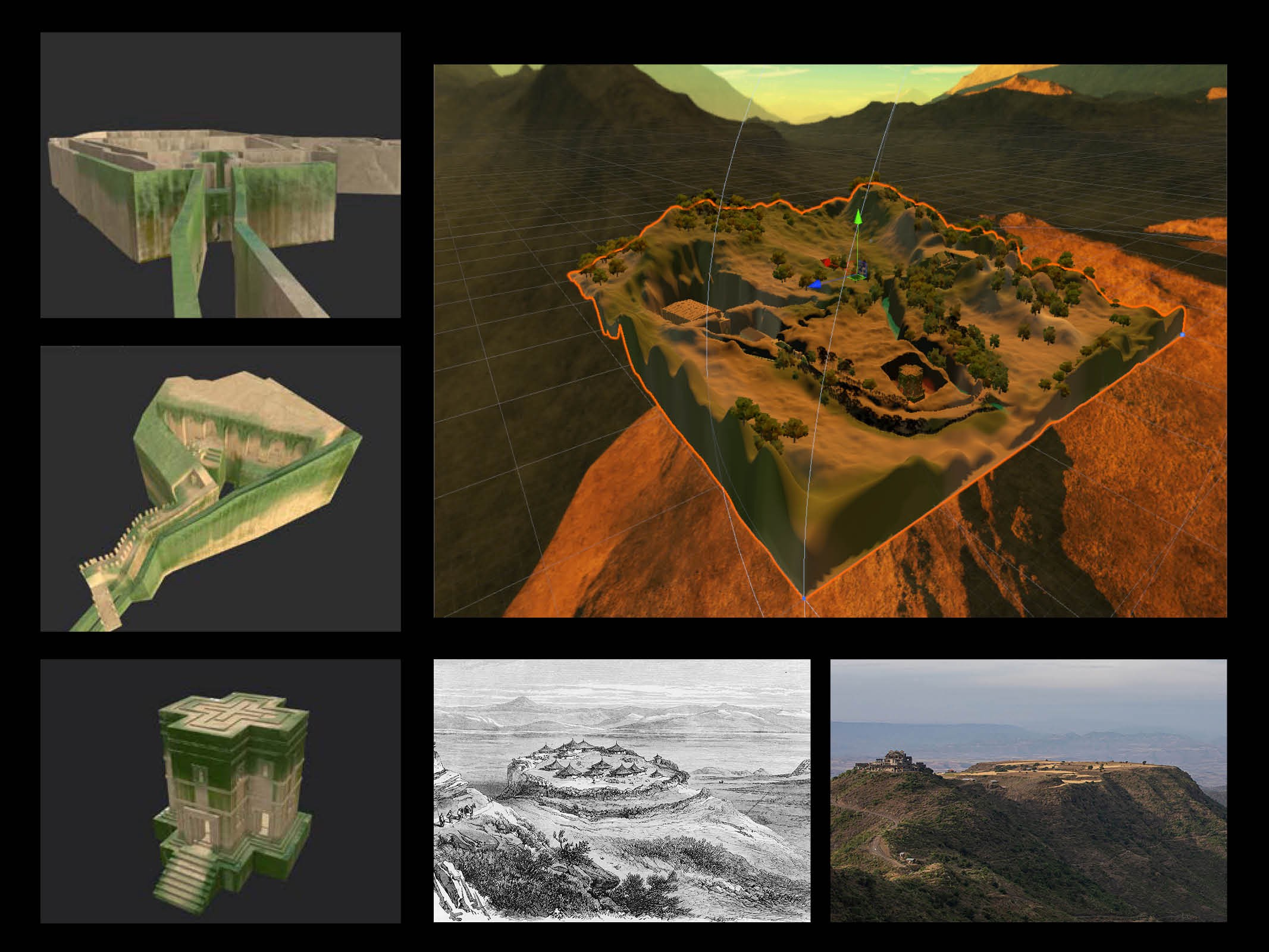 A 3D digital rendering of Ethiopian heritage sites, specifically the Lalibela Churches.
