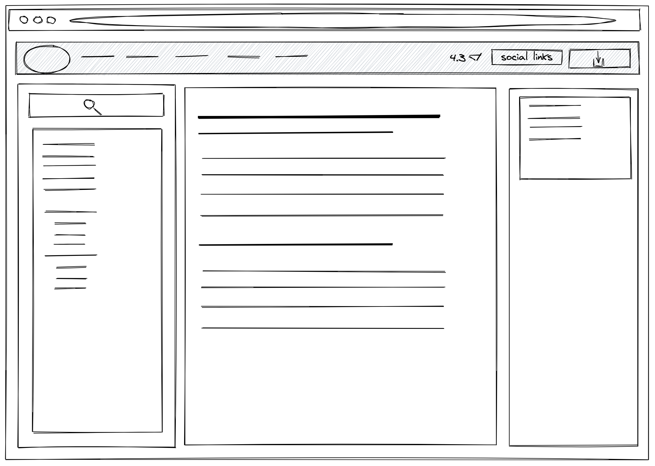"A wireframe of Bootstrap Framework's ""Documentation"" page layout"