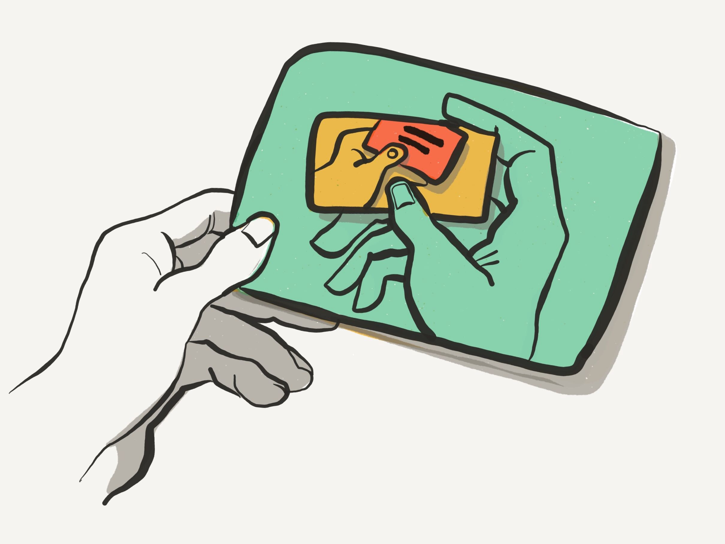 Illustration of a flashcard within a flashcard within a flashcard.