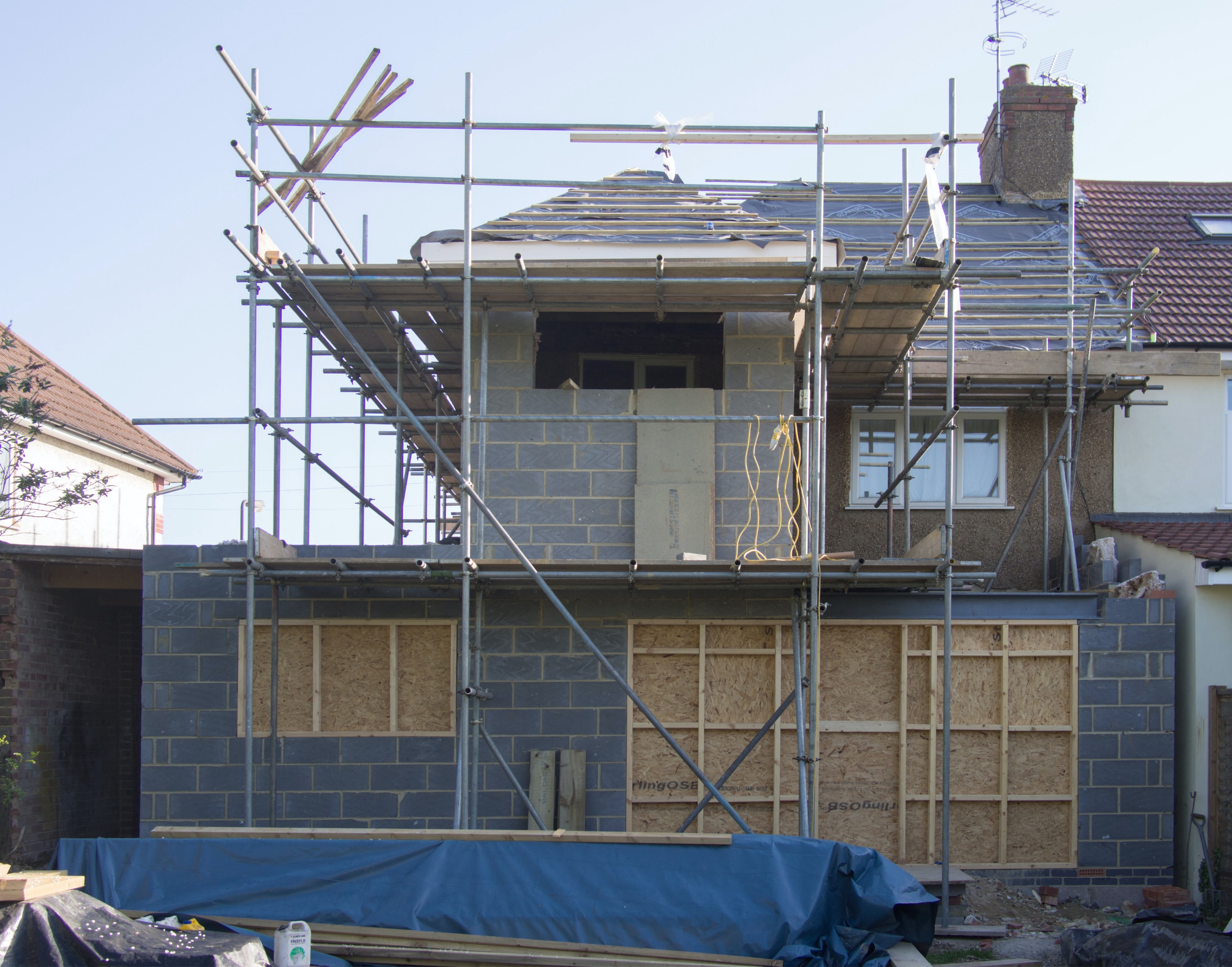 Double story house extension in progress