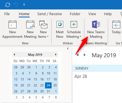 Microsoft Outlook new Teams Meeting Button