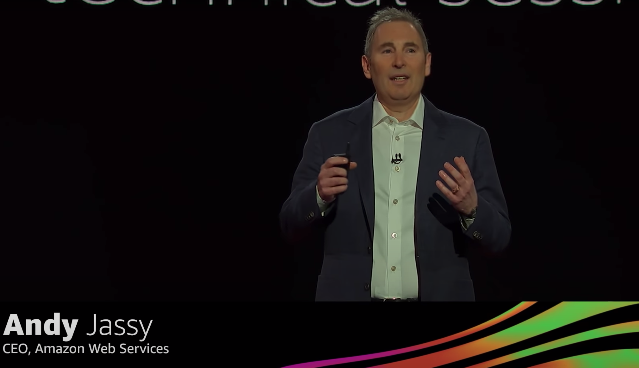 Andy Jassy, CEO of Amazon Web Services speaks at an Amazon keynote event.