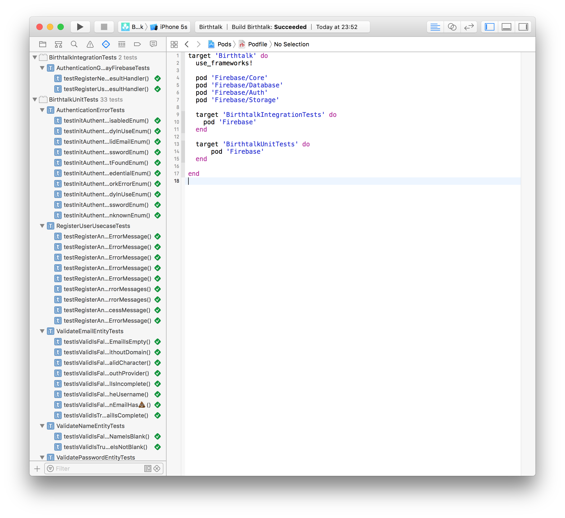 Firebase user registration at iOS with integration tests