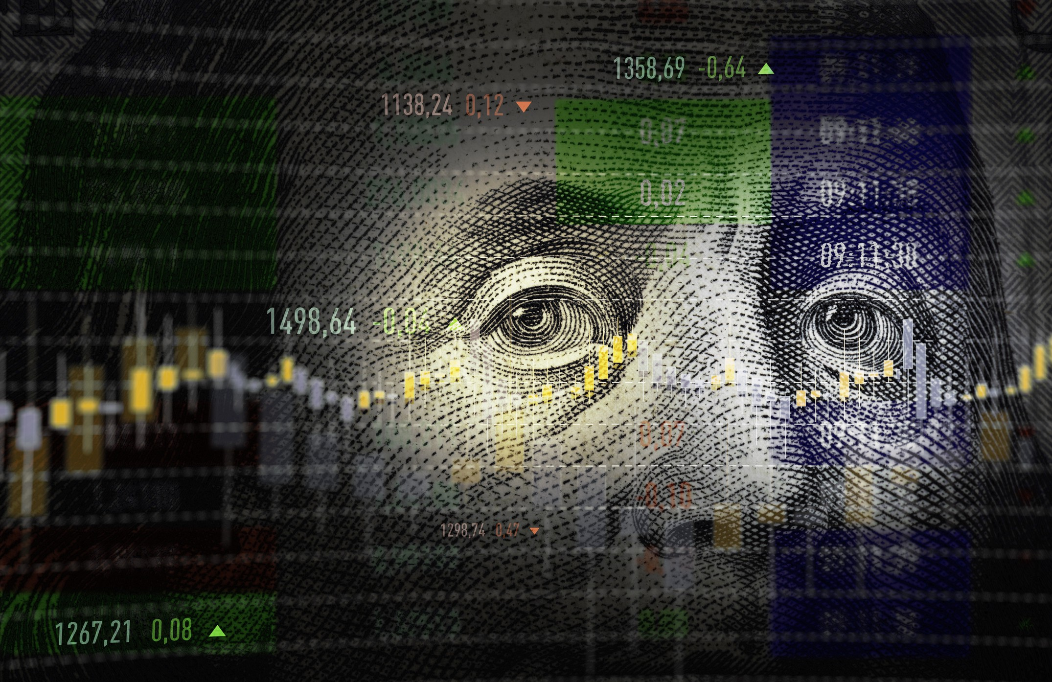 A photo illustration of a generic stock financial data analysis graph superimposed  over a close up  $100 US  dollar bill.