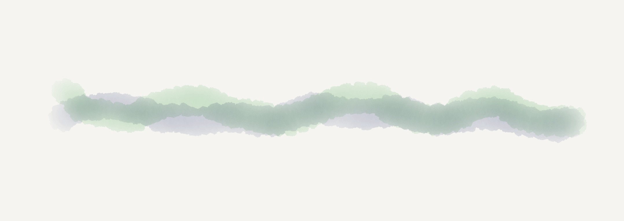 Two wavy horizontal watercolor lines, one purple, one green, woven together.