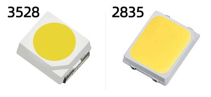 3528 LED (left) and 2835 LED (right)