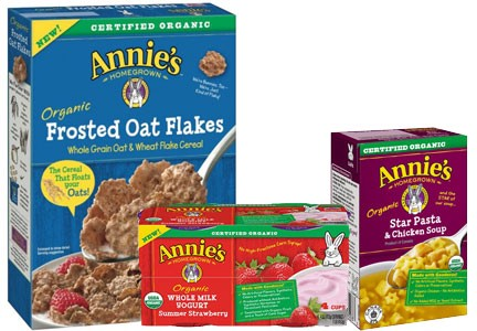 Annie's cereal, fruit snacks, and soup