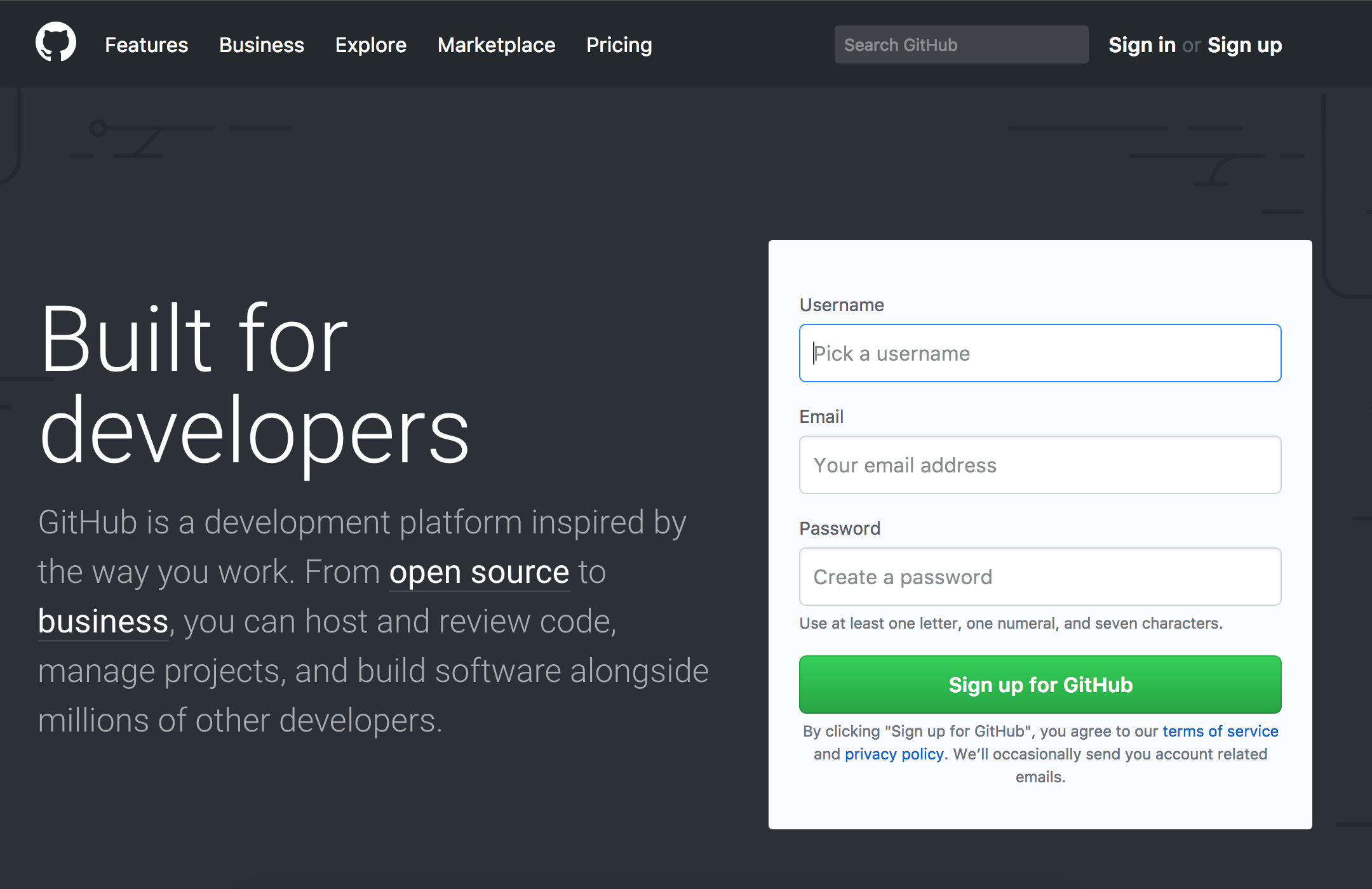 "The GitHub homepage with signup form to the right of the screen. Along the top is the main navigation area. To the left of the screen text reads, ""Built for developers"" with a description of what GitHub is all about."