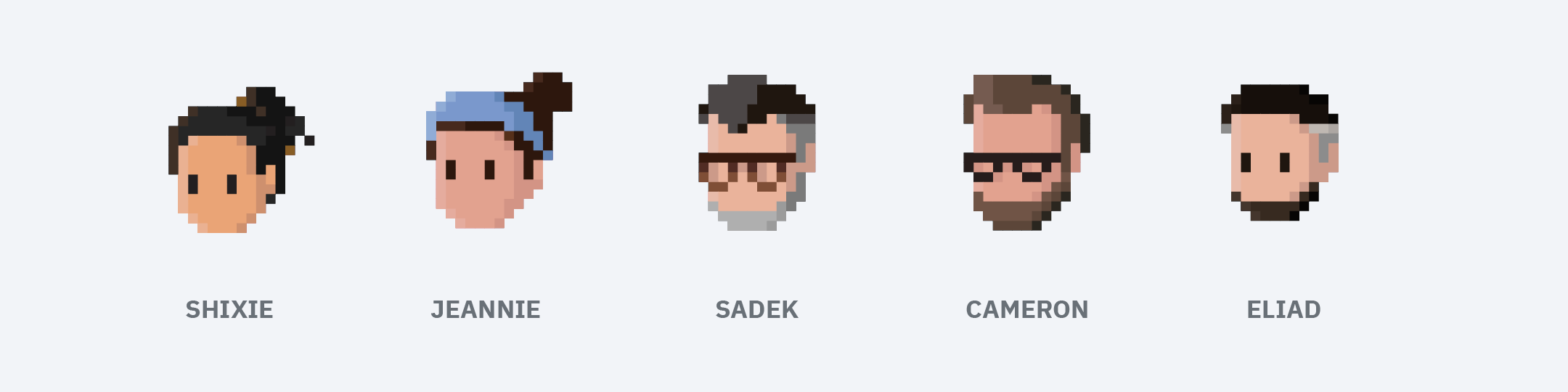 8-bit portraits of Shixie, Jeannie, Sadek, Cameron and Eliad