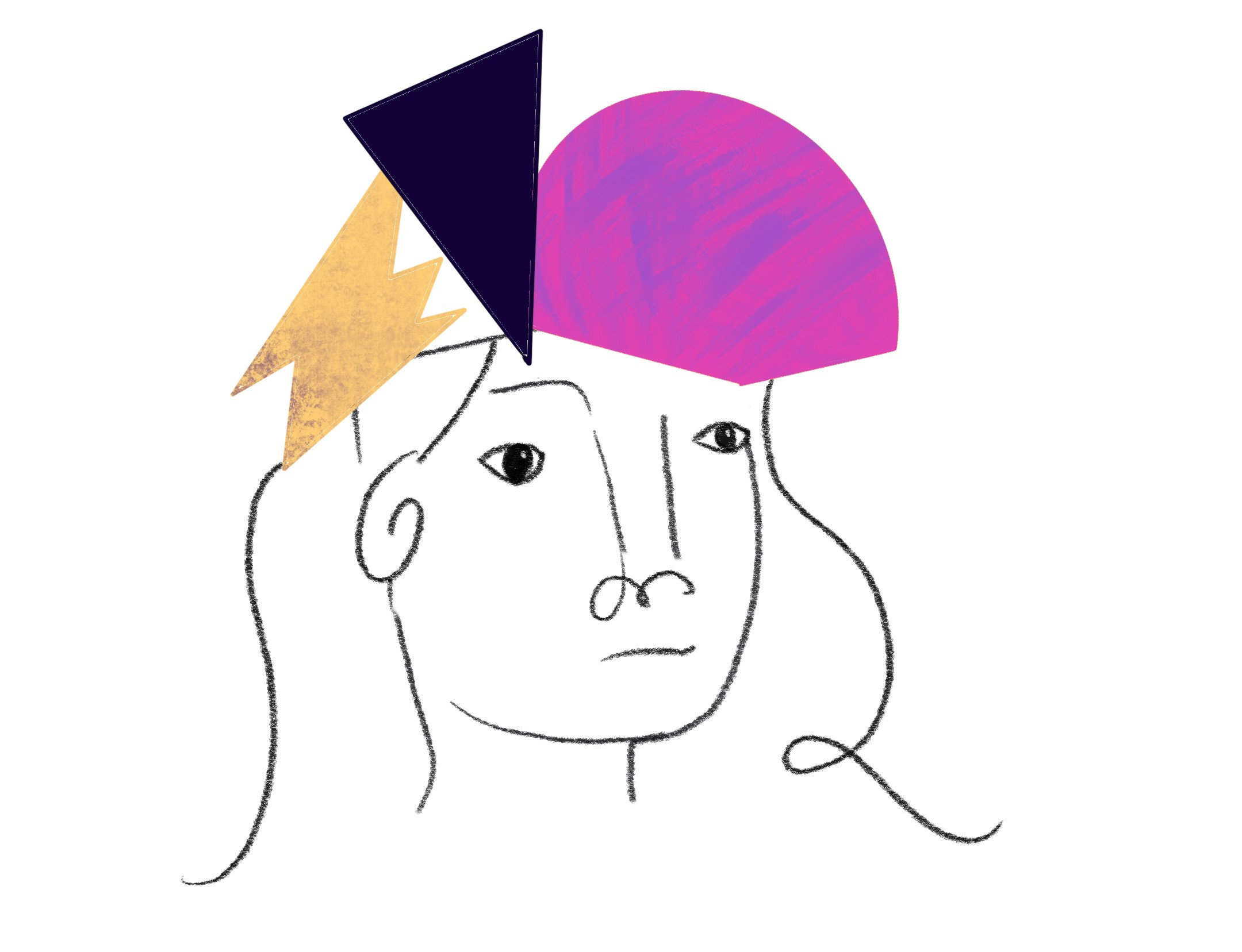 An abstract illustration of a women's face with a plain expression. Colorful objects float around the top of her head.