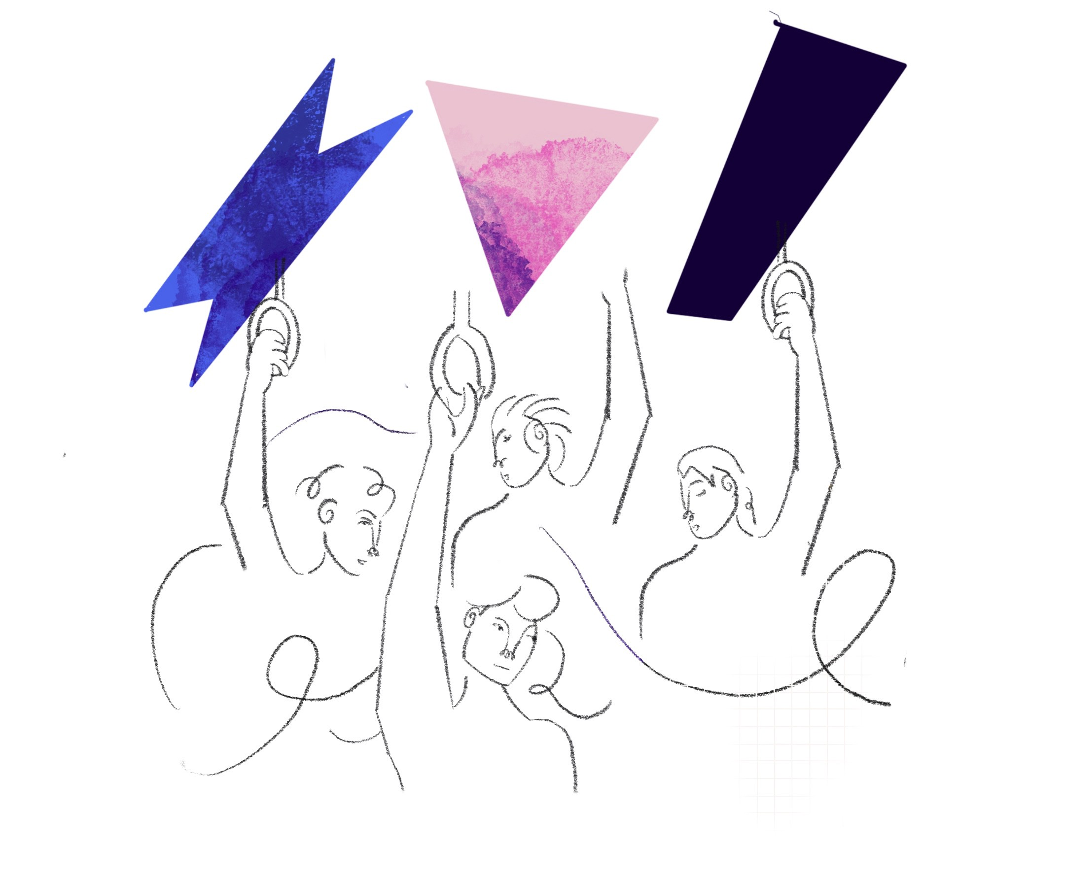 An abstract illustration of people croweded in the subway. Three colorful, sharp shapes float above them.