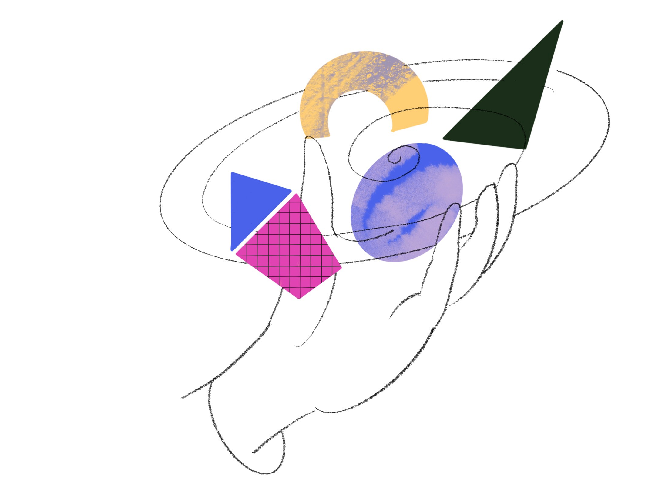 An abstract illustration of a back and white hand. Colorful shapes with patterns float above the hand like planets.