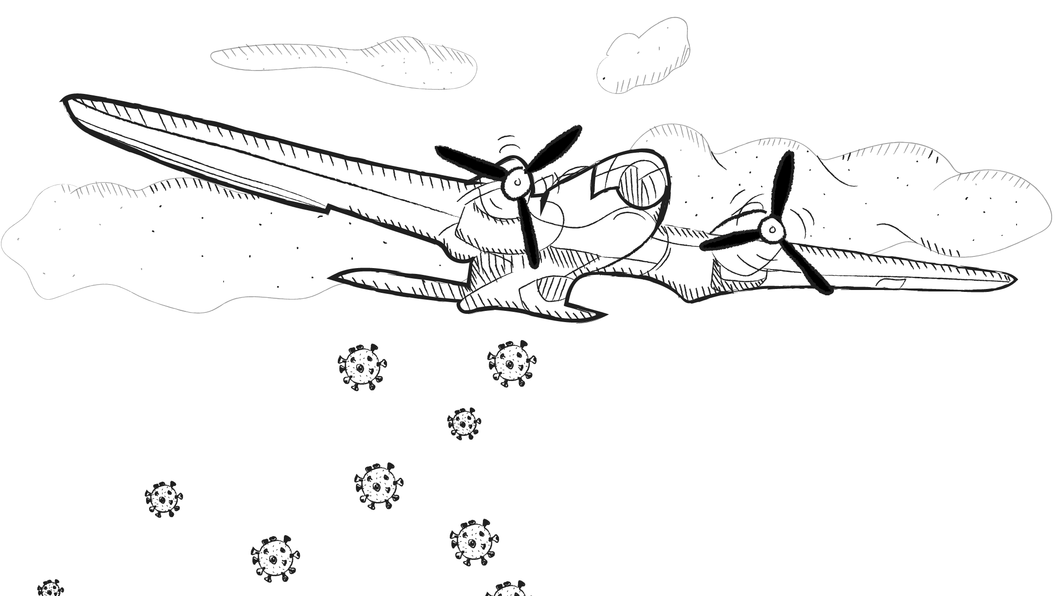 "An illustration of a vintage-style plane with propellers flying through the clouds, with large coronavirus cells being ""dropped"" from the plane."
