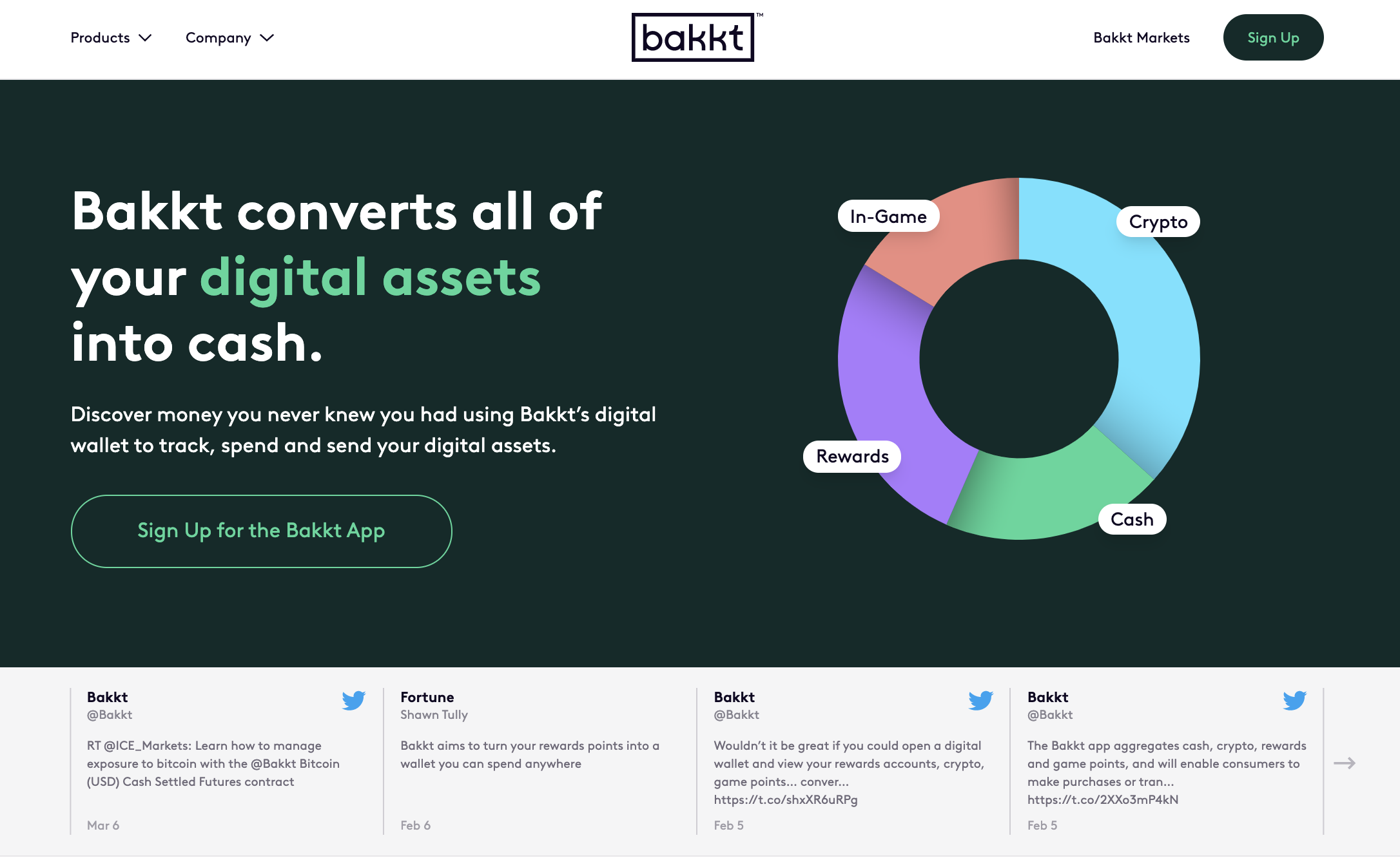 Homepage of the new Bakkt website