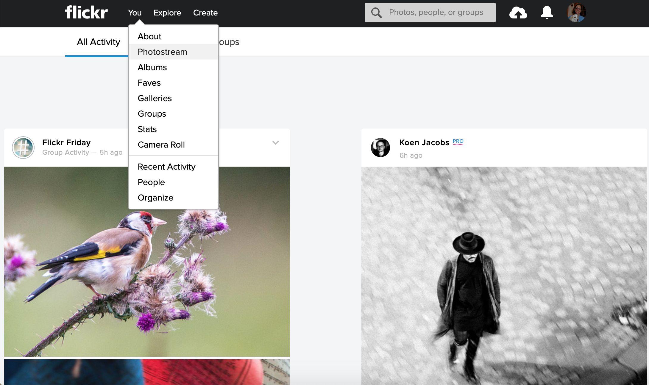 """How to use the """"you"""" menu to get to your photostream"""