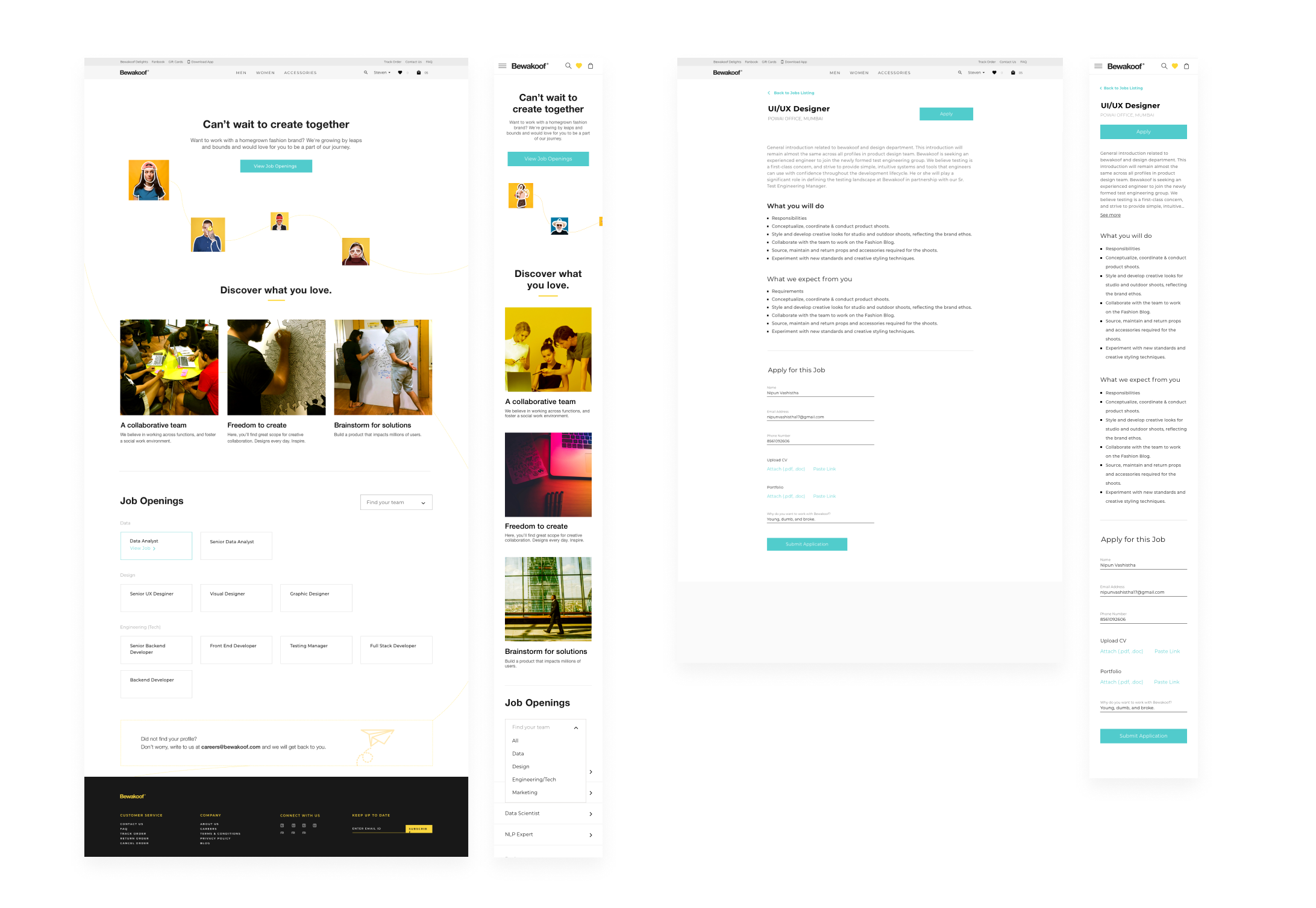 Designing Careers Page at Bewakoof com - UX Planet