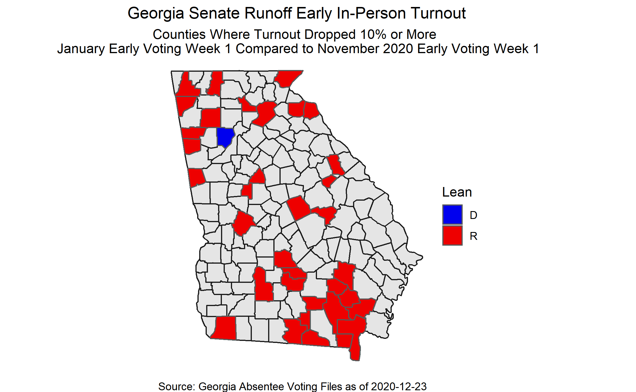 Counties where early voting turnout dropped 10% during the Georgia Senate runoffs during the first week.