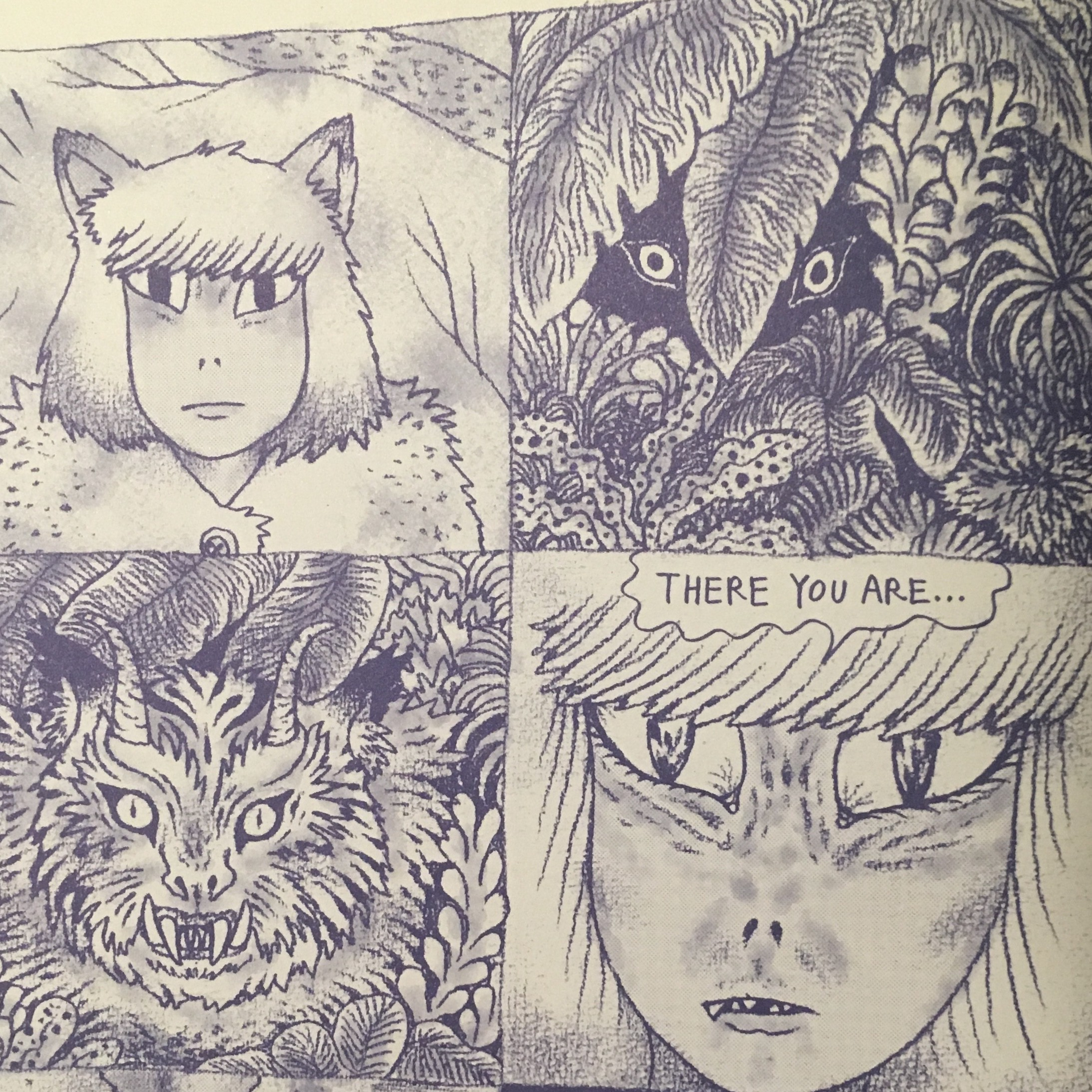 Four panels depicting a woman in a hunter's fur coat and feline ears staring down a surreal not-quite-tiger in the foliage.