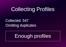 Collecting Profiles screen of the widget