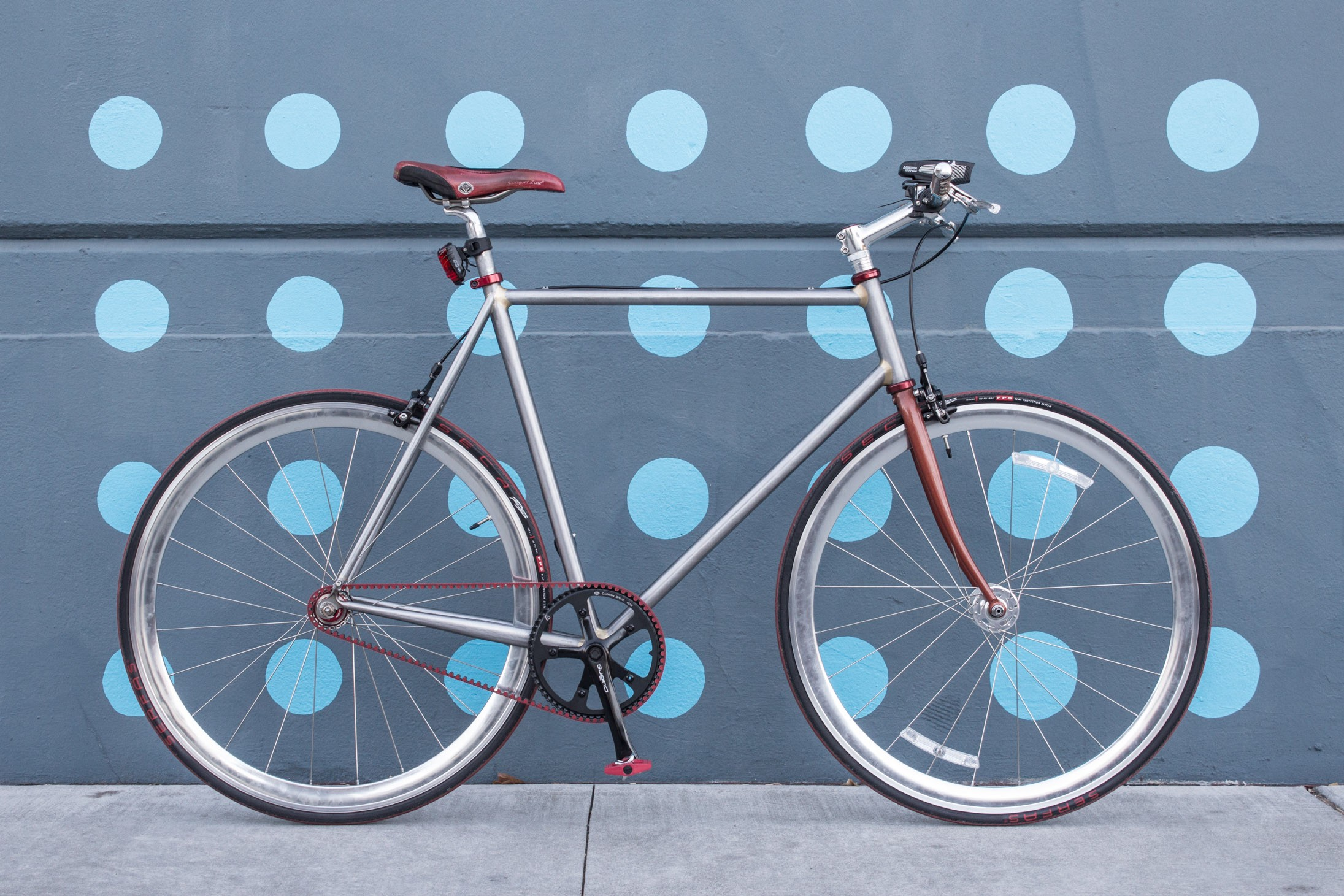 A bicycle; single speed; belt drive.