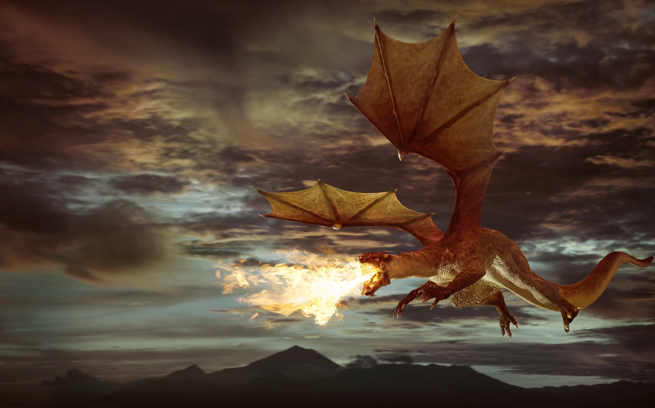 A CGI of a dragon breathing fire while flying in the air against a dark cloudy background.